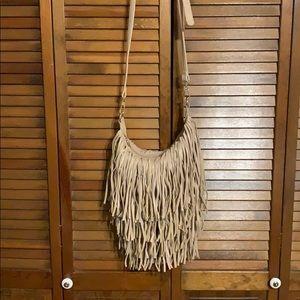Tan fringe crossbody bag